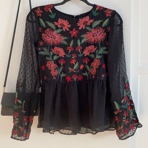 AEO Floral Embroidery Chiffon Blouse